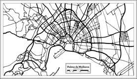 Χάρτης πόλεων της Πάλμα ντε Μαγιόρκα Ισπανία στο αναδρομικό ύφος Γραπτή διανυσματική απεικόνιση ελεύθερη απεικόνιση δικαιώματος