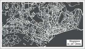Χάρτης πόλεων της Σιγκαπούρης στο αναδρομικό ύφος Γραπτή διανυσματική απεικόνιση Στοκ Εικόνα