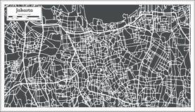 Χάρτης πόλεων της Τζακάρτα Ινδονησία στο αναδρομικό ύφος Γραπτή διανυσματική απεικόνιση Στοκ φωτογραφία με δικαίωμα ελεύθερης χρήσης