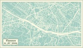 Χάρτης πόλεων της Φλωρεντίας Ιταλία στο αναδρομικό ύφος Γραπτή διανυσματική απεικόνιση διανυσματική απεικόνιση