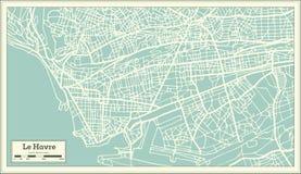 Χάρτης πόλεων της Χάβρης Γαλλία στο αναδρομικό ύφος Στοκ φωτογραφία με δικαίωμα ελεύθερης χρήσης