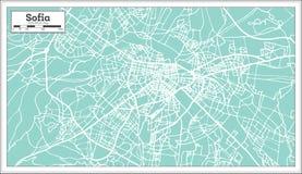 Χάρτης πόλεων της Sofia Βουλγαρία στο αναδρομικό ύφος Γραπτή διανυσματική απεικόνιση διανυσματική απεικόνιση