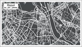 Χάρτης πόλεων του Ανόι Βιετνάμ στο αναδρομικό ύφος Γραπτή διανυσματική απεικόνιση Στοκ Φωτογραφίες