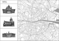 Χάρτης πόλεων του Δουβλίνου με τα hand-drawn εικονίδια αρχιτεκτονικής ελεύθερη απεικόνιση δικαιώματος