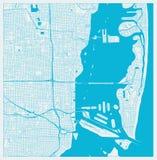 Χάρτης πόλεων του Μαϊάμι, Φλώριδα, ΗΠΑ στα μπλε χρώματα διανυσματική απεικόνιση