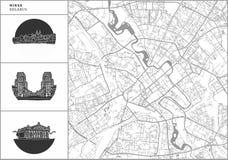 Χάρτης πόλεων του Μινσκ με τα hand-drawn εικονίδια αρχιτεκτονικής απεικόνιση αποθεμάτων