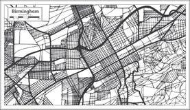 Χάρτης πόλεων του Μπέρμιγχαμ Αλαμπάμα ΗΠΑ στο αναδρομικό ύφος Γραπτή διανυσματική απεικόνιση απεικόνιση αποθεμάτων