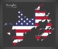 Χάρτης πόλεων του Μπέρμιγχαμ Αλαμπάμα με την αμερικανική απεικόνιση εθνικών σημαιών διανυσματική απεικόνιση