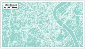 Χάρτης πόλεων του Μπορντώ Γαλλία στο αναδρομικό ύφος Στοκ εικόνα με δικαίωμα ελεύθερης χρήσης
