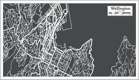 Χάρτης πόλεων του Ουέλλινγκτον Νέα Ζηλανδία στο αναδρομικό ύφος Γραπτή διανυσματική απεικόνιση Στοκ εικόνες με δικαίωμα ελεύθερης χρήσης
