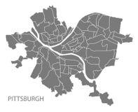 Χάρτης πόλεων του Πίτσμπουργκ Πενσυλβανία με το γκρίζο illustr γειτονιών Στοκ Φωτογραφίες