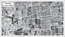 Χάρτης πόλεων του Σαντιάγο Χιλή στο αναδρομικό ύφος Γραπτή διανυσματική απεικόνιση Στοκ Εικόνα