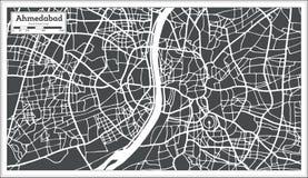Χάρτης πόλεων του Ahmedabad Ινδία στο αναδρομικό ύφος Στοκ φωτογραφίες με δικαίωμα ελεύθερης χρήσης
