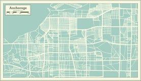 Χάρτης πόλεων του Anchorage Αλάσκα ΗΠΑ στο αναδρομικό ύφος Γραπτή διανυσματική απεικόνιση διανυσματική απεικόνιση