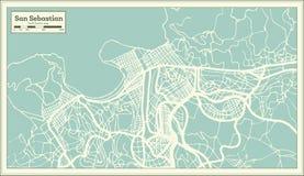 Χάρτης πόλεων του San Sebastian Ισπανία στο αναδρομικό ύφος Γραπτή διανυσματική απεικόνιση διανυσματική απεικόνιση