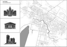 Χάρτης πόλεων Astana με τα hand-drawn εικονίδια αρχιτεκτονικής ελεύθερη απεικόνιση δικαιώματος