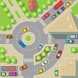 Χάρτης πόλεων με τη τοπ διανυσματική απεικόνιση αυτοκινήτων και σπιτιών άποψης απεικόνιση αποθεμάτων