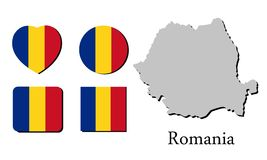 Χάρτης Ρουμανία σημαιών Στοκ Εικόνες