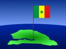 χάρτης Σενεγάλη σημαιών διανυσματική απεικόνιση