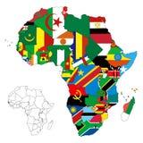 χάρτης σημαιών ηπείρων της Αφρικής Στοκ Εικόνες