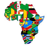 χάρτης σημαιών της Αφρικής Στοκ φωτογραφία με δικαίωμα ελεύθερης χρήσης