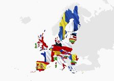 Χάρτης σημαιών της Ευρωπαϊκής Ένωσης τρισδιάστατος χάρτης και σημαία της Ευρωπαϊκής Ένωσης απόδοσης Το εθνικό σύμβολο της Ευρωπαϊ ελεύθερη απεικόνιση δικαιώματος