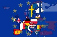 Χάρτης σημαιών της Ευρωπαϊκής Ένωσης απεικόνιση αποθεμάτων