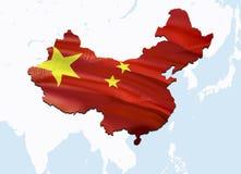 Χάρτης σημαιών της Κίνας τρισδιάστατοι χάρτης και σημαία απόδοσης Κίνα στο χάρτη της Ασίας Το εθνικό σύμβολο της Κίνας Beijing στοκ εικόνες