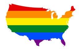 Χάρτης σημαιών LGBT Διανυσματικός χάρτης ουράνιων τόξων στα χρώματα λεσβιακής, ομοφυλοφιλικής, της αμφίφυλης, και transgender LGB απεικόνιση αποθεμάτων