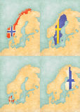 Χάρτης Σκανδιναβίας - της Νορβηγίας, της Σουηδίας, της Δανίας και της Φινλανδίας Στοκ Φωτογραφία