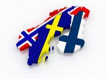 Χάρτης Σκανδιναβίας. Στοκ εικόνες με δικαίωμα ελεύθερης χρήσης