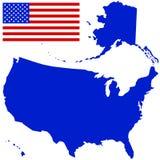Χάρτης σκιαγραφιών και σημαία των ΗΠΑ Στοκ Εικόνες