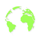 Χάρτης σφαιρών της γης με τη σκιά στο άσπρο υπόβαθρο απεικόνιση αποθεμάτων