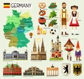 Χάρτης ταξιδιού της Γερμανίας ελεύθερη απεικόνιση δικαιώματος