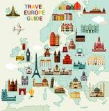 Χάρτης ταξιδιού της Ευρώπης διανυσματική απεικόνιση