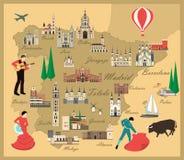 Χάρτης ταξιδιού της Ισπανίας με τις θέες Στοκ Εικόνες