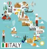 Χάρτης ταξιδιού της Ιταλίας απεικόνιση αποθεμάτων
