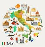 Χάρτης ταξιδιού της Ιταλίας διανυσματική απεικόνιση