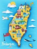 Χάρτης ταξιδιού της Ταϊβάν απεικόνιση αποθεμάτων