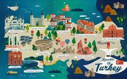Χάρτης ταξιδιού της Τουρκίας διανυσματική απεικόνιση