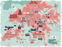 Χάρτης ταξιδιού Χονγκ Κονγκ απεικόνιση αποθεμάτων