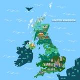 Χάρτης της Αγγλίας, Ηνωμένο Βασίλειο με τα διάσημα ορόσημα ελεύθερη απεικόνιση δικαιώματος