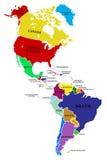 χάρτης της Αμερικής βορρά-νότου Στοκ Φωτογραφίες