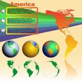 Χάρτης της Αμερικής στο κίτρινο υπόβαθρο με τις παγκόσμιες σφαίρες Στοκ φωτογραφία με δικαίωμα ελεύθερης χρήσης