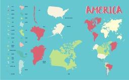 Χάρτης της Αμερικής Στοκ Εικόνες