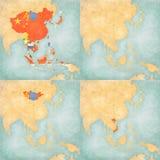 Χάρτης της ανατολικής Ασίας - κενός χάρτης, όλες οι χώρες, Μογγολία και Βιετνάμ Στοκ Φωτογραφία