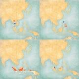 Χάρτης της ανατολικών Ασίας - της Ταϊλάνδης, των Φιλιππινών, της Ινδονησίας και της Μαλαισίας Στοκ Εικόνες