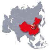 Χάρτης της Ασίας με την Κίνα Στοκ Εικόνες