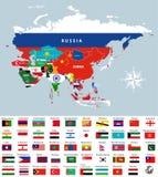 Χάρτης της Ασίας που ενώνεται με τις σημαίες χωρών Όλες οι ασιατικές σημαίες χωρών Στοκ Εικόνες