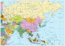 χάρτης της Ασίας πολιτικό&sig Στοκ φωτογραφία με δικαίωμα ελεύθερης χρήσης